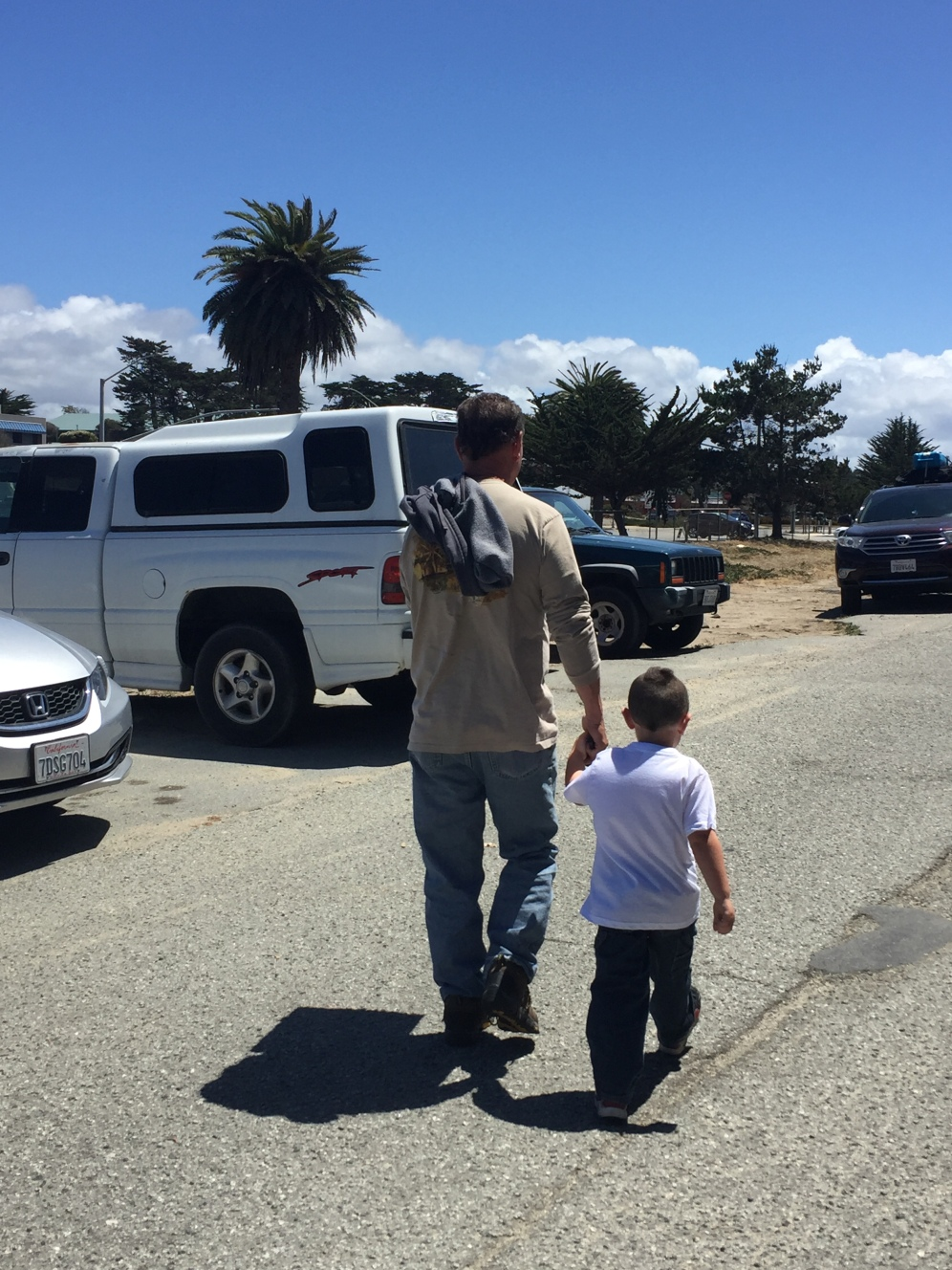 My great nephew took my husband's hand while walking to the car...So Sweet!
